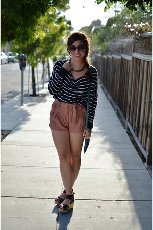 scalloped new look shorts - hm sweater