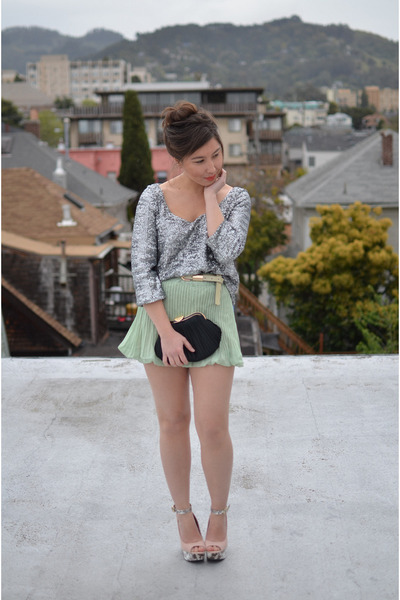 sequin Forever 21 shirt - Charlotte Russe shoes - thrifted bag