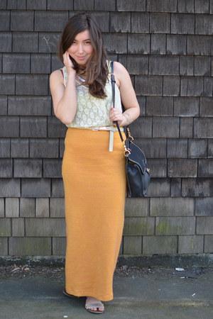 mustard sweater vintage skirt - eggshell lace Macys shirt