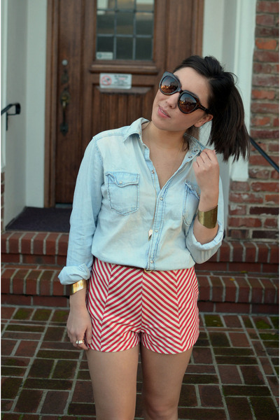 chevron 2020AVE shorts - denim H&M shirt - cuffs H&M bracelet
