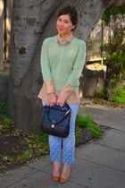 polka dot DIY jeans - Forever 21 sweater - thrifted shirt - ann taylor necklace