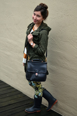 floral Zara pants - dark green Forever 21 jacket - burnt orange J Crew sweater