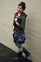 floral Zara pants - dark green Forever 21 jacket - burnt orange J Crew sweater