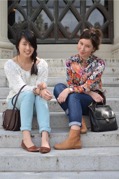 joes jeans - light blue asos jeans - Wholesale-Dress shirt - thrifted coach bag