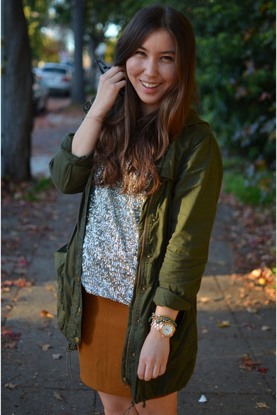 sequin Forever21 shirt - thrifted skirt