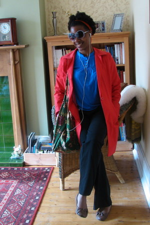 red trench coat coat - blue gifted Dorothy Perkins top - black thrifted pants -