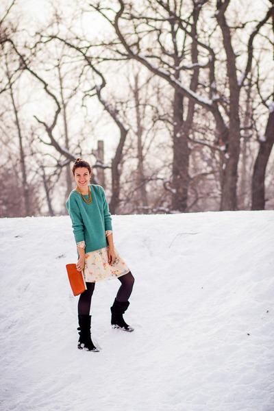 Koton sweater - miniprix boots - summer print Zara dress - vintage bag