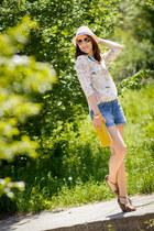 Promod shirt - Accesorize hat - Zara bag - pull&bear shorts - Promod bracelet
