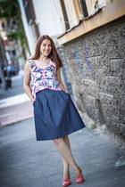 cropped Zara top - denim Zara dress - Musette sandals