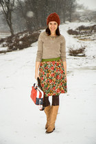 flower print nissa skirt - miniprix boots - H&M sweater - Calzedonia tights
