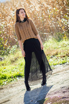maxi Zara skirt - Mango boots - H&M sweater - animal print Promod necklace