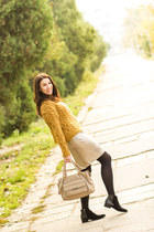 Mango sweater - Mango boots - Mango shirt - sequined Zara skirt