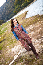 Promod boots - etno Mango dress - denim Promod shirt