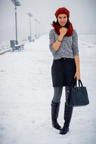 Bata boots - Calzedonia tights - Promod scarf - Bata bag - H&M skirt