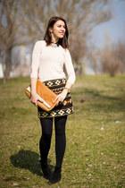 etno Zara skirt - Mango boots - Zara sweater - H&M shirt - meli melo bag