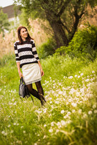 Zara shoes - stripped pull&bear sweater - Batta bag - lace H&M skirt
