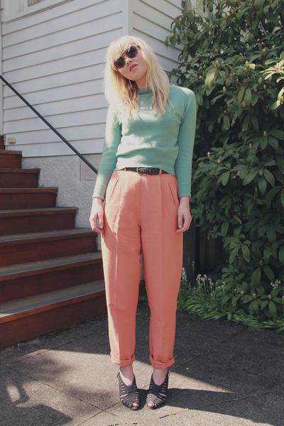 50s vintage sweater - salmon 90s vintage pants - dark gray 80s vintage heels