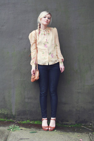 light yellow vintage blouse - J Crew jeans - tawny vintage heels
