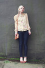 J-crew-jeans-light-yellow-vintage-blouse-tawny-vintage-heels