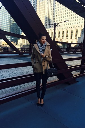 bcbg max azria coat - banana republic scarf - Chanel bag