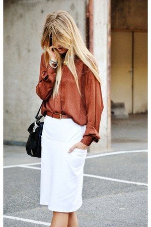 silk blouse - pencil skirt