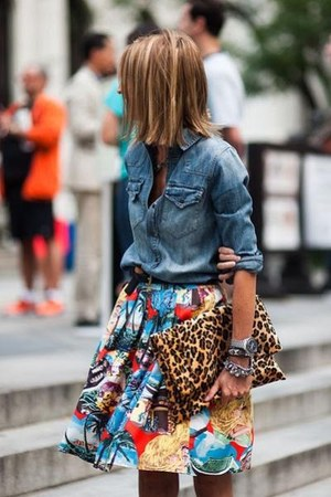 leopard bag - chambray blouse