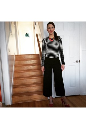 J Crew top - black Zara pants - necklace - red madewell pumps