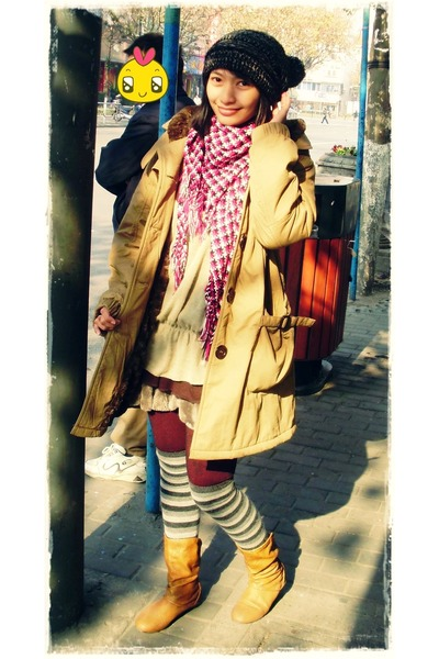 socks - boots - coat - hat - tights - scarf