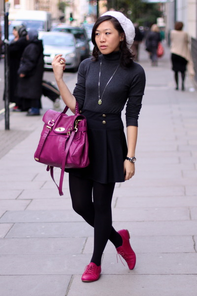 dark gray Zara top - black Primark skirt - magenta Mulberry - hot pink Topshop s