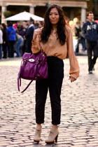 nude silk Topshop shirt - beige new look boots - navy harem asos pants