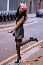 blue Topshop dress - black Topshop tights - black Guess shoes - black Chanel pur