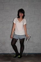 SM Dept Store - diy shirt - shopwise - diy shorts - SM Dept Store tights - Schu