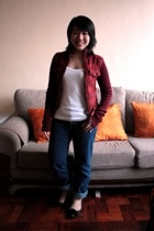 take out gifted plaid jacket - landmark top - Levis 501 jeans - Topshop shoes