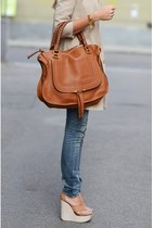 brown brown leather bag - off white coat - off white 4-5 wedges