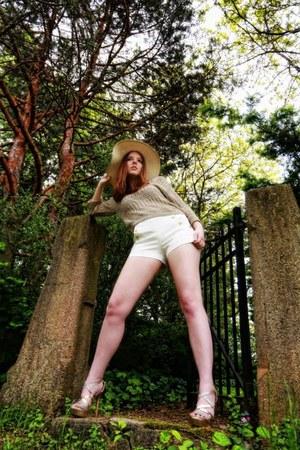 beige Kmart hat - mustard American Rag sweater - ivory Forever 21 shorts