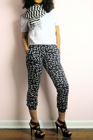 black Urban Outfitters pants - white Urban Outfitters scarf - gray Urban Outfitt
