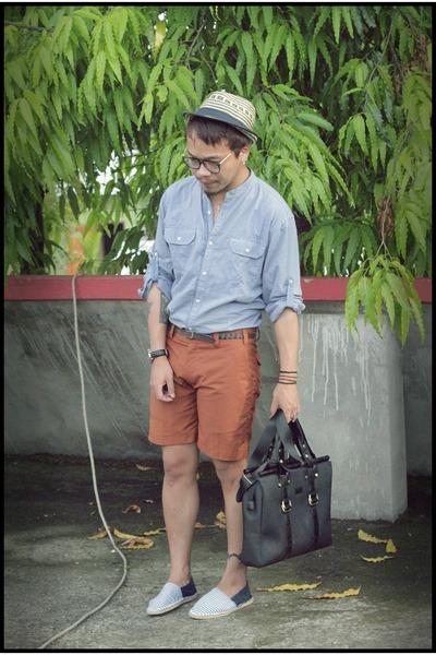straw hat Zara hat - light blue Zara shirt - black mens purse Pedro bag - 82570c444e0