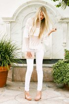 Vince Camuto heels - Gap jeans - lace free people top