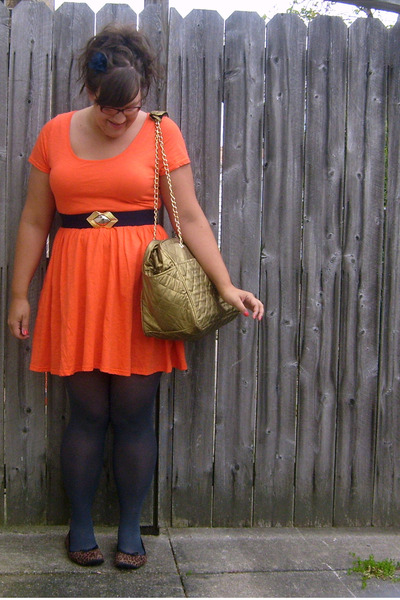 orange asos dress - gray HUE tights - brown payless shoes - blue vintage belt -