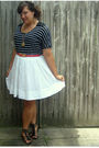 White-target-skirt-black-target-shoes-red-thrifted-belt-black-jcpenney-top