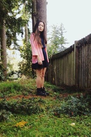 blush pink thrifted vintage shirt - matte black doc martens boots