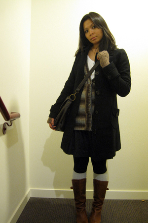 black Tulle coat - brown Gap cardigan - white American Eagle shirt - black Forev