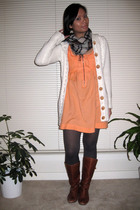 Kimchi&Blue dress - H&M sweater - tights - Roxy scarf - Steve Madden boots