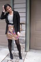 H&M blazer - H&M shirt - H&M necklace - kimchee blue skirt - Target tights - BCB