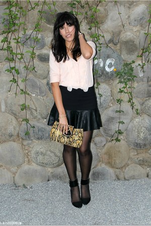 black Zara skirt - light pink Loft sweater - gold Koketa stockings