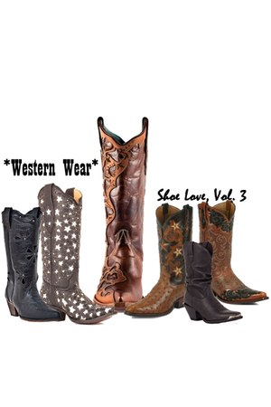black cowboy Dingo boots - dark brown cowboy Corral boots