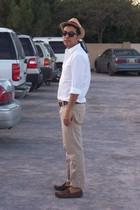 white H&M shirt - beige pull&bear pants - beige J Crew hat - brown Louis Vuitton