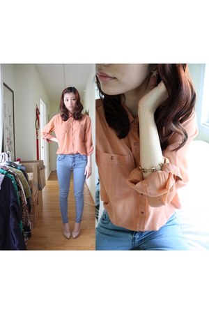 peach chiffon Urban Outfitters blouse - periwinkle denim jeans zipia jeans