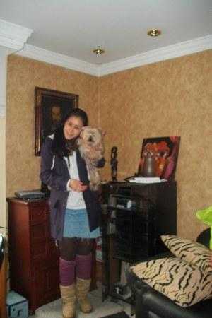 light brown boots - purple coat - purple leggings - brown tights - brown scarf -