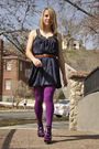 Blue-forever-21-dress-brown-vintage-belt-purple-we-love-colors-tights-blac